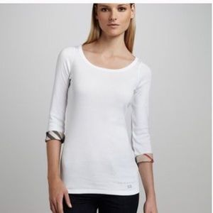 Burberry | White 3/4 Sleeve Check-Cuff Scoop Tee